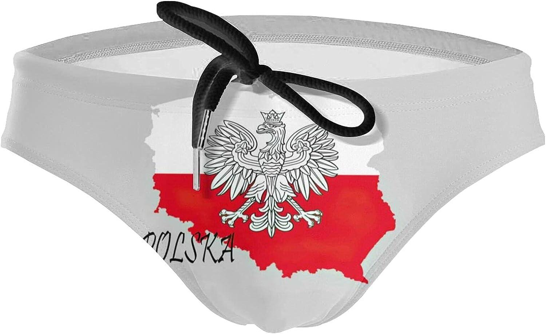 KXT Polish Poland Polska Flag Men's Bikini Swimsuit Boxer Brief Underwear Drawstring Swimming Trunks
