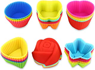 Fantastic Zone 36 Pcs Reusable Silicone Muffin Cups, 6 Shapes with 6 Colors, Non-Stick, Food Grade Heat Resistant (Up to 480°F) Mini Baking Molds