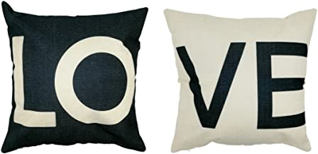Arundeal Decorative 18 x 18 Inch Cotton Linen Square Couple Throw Pillow Cases Cushion Cover Set of 2 - LOVE