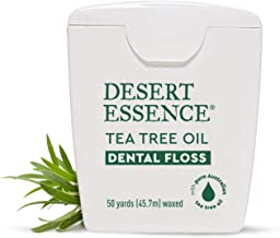 Desert Essence Tea Tree Oil Dental Floss - 50 Yards - Naturally Waxed w/ Beeswax - Thick Flossing No Shred Tape - On The Go - Removes Food Debris Buildup - Cruelty-Free Antiseptic
