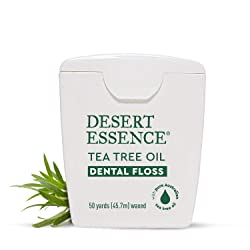 Desert Essence Tea Tree Oil Dental Floss - 50 Yards - Naturally Waxed w/ Beeswax - Thick Flossing No