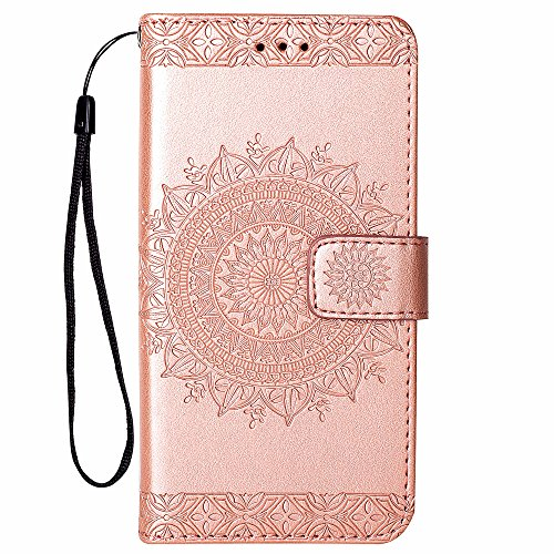 Hancda [Nicht für 8/7] Hülle für iPhone 8 Plus/iPhone 7 Plus, Handyhülle Tasche Hülle Flip Case Leder Schutzhülle Cover Leder Handytasche Magnet Case für iPhone 8 Plus/iPhone 7 Plus - Rose Gold