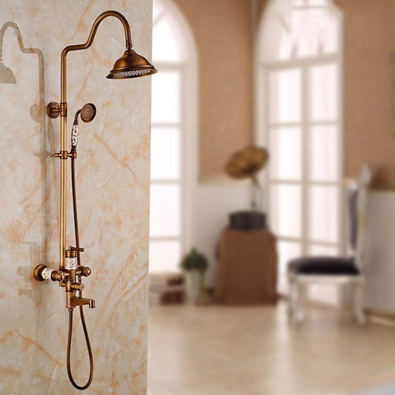 GWFVA Badezimmer-Brausenmischer-Set, Brausegarnitur, Multifunktionsdusche, Antike Handbrause, Warm-Kalt-Mischbatterie, Aufstellbrause zur Wandmontage
