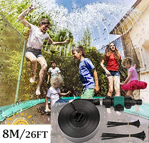 8M/26FT Trampoline Sprinkler for Kids and Adults Waterpark Outdoor Fun Summer Outdoor Water Games Yard Toys Sprinklers Backyard Water Park for Boys Girls, Black