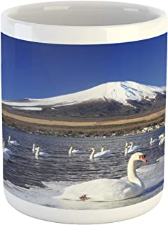 Ambesonne Mountain Mug, Swans on Lake Yamanaka Nature Park Snowy Peak Mountain Animal Japan Scenic Photo, Ceramic Coffee Mug Cup for Water Tea Drinks, 11 oz, Multicolor