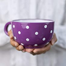 Handmade Ceramic Designer Purple and White Polka Dot Cup, Unique Extra Large 17.5oz/500ml Pottery Cappuccino, Coffee, Tea, Soup Mug | Housewarming Gift for Tea Lovers by City to Cottage
