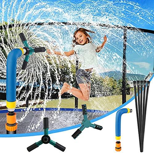RDJSHOP Aspersor de Trampolín para Niños, 360 Grados de Rotación de 3 Brazos Accesorios del Trampolín del Rociador de Agua, Divertido Juego de Parque Acuático al Aire Libre de Verano