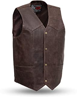 First Mfg Co Men's Texan Leather Vest (Brown, Large)