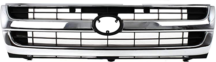 Grille Compatible with Toyota Tacoma 97-00 Chrome Shell/Painted-Black Insert 2WD