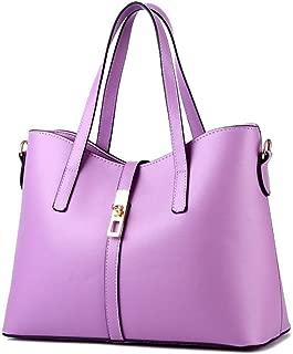 Desklets Womens PU Leather Sling Simple Style Tote Bags Top Handle Handbag(Purple)