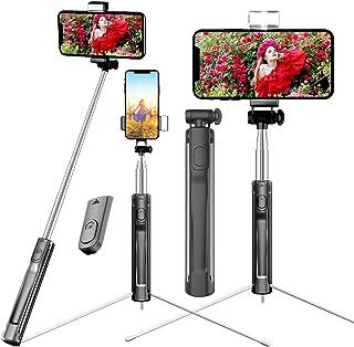 自撮り棒 三脚 セルカ棒 bluetoothリモコン スマホ自撮り棒 シャッター付き 360度回転 軽量 無線 三段補光ライト じどり棒 iPhone Android セルフィースティックiPhone7 iphone8 plus iphone xなど対応(ブラック)