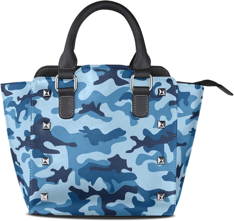 My Little Nest Women's Top Handle Satchel Handbag Sea Water bluee Camouflage Ladies PU Leather Shoulder Bag Crossbody Bag
