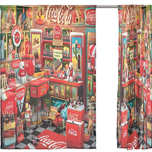"""Sheer Window Curtains 2 Panels Vintage Coca Cola Voile Curtains for Kitchen Bedroom Living Room Home Decor 55"""" x 78"""""""