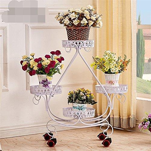 4 support de fleur de fer à gradins/stand présentoir simple et élégant de fleur d'usine, salon de balcon d'intérieur