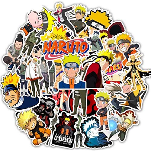 LVLUO Anime Naruto Ayuda Pegatinas de Dibujos Animados Coche eléctrico Carrito de Equipaje Maleta Maleta Ordenador Pegatinas Impermeables 50 Uds