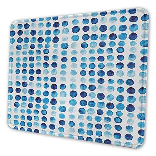 Blue Gaming Mouse Pad Retro Hand gezeichnete Kreise Runden Farbe Zellen bemalt Blase wie Grunge-Stil Fliesen Anti-Falten-Mauspad Blau Hellblau