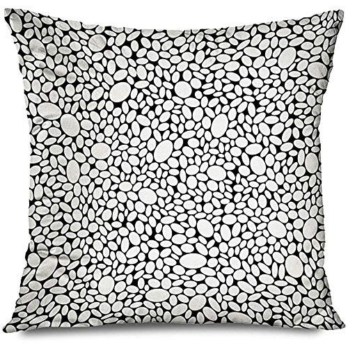 Mackinto Kissenbezug Dekorative Platz 18x18 Badezimmer Kies Mosaik Pflaster Monochrome Pebble Sidewalk Architecture Interiors Cell Ceramic