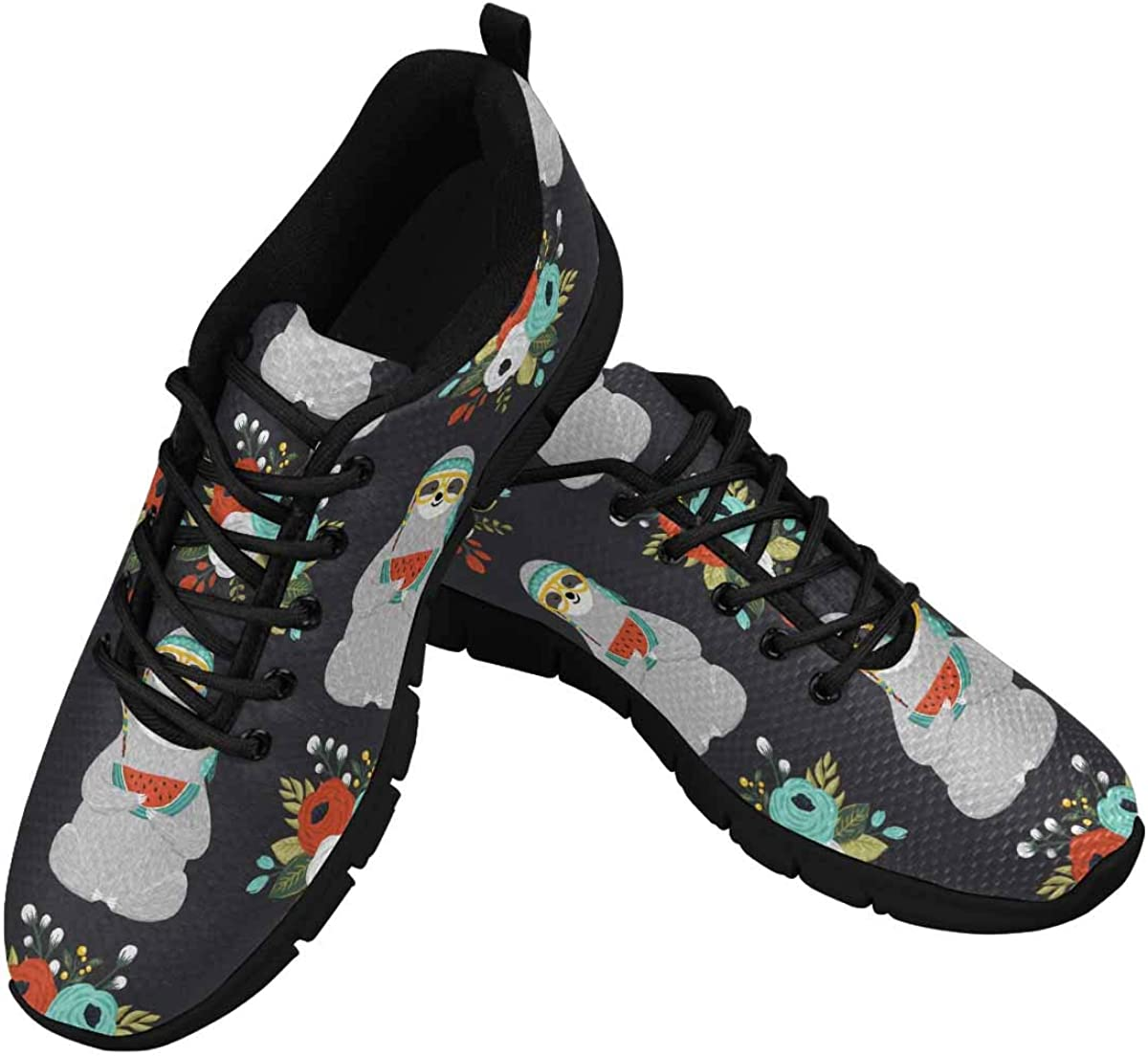 INTERESTPRINT Cute Baby Sloth and Flowers Women's Athletic Walking Shoes Breathe Comfort Mesh
