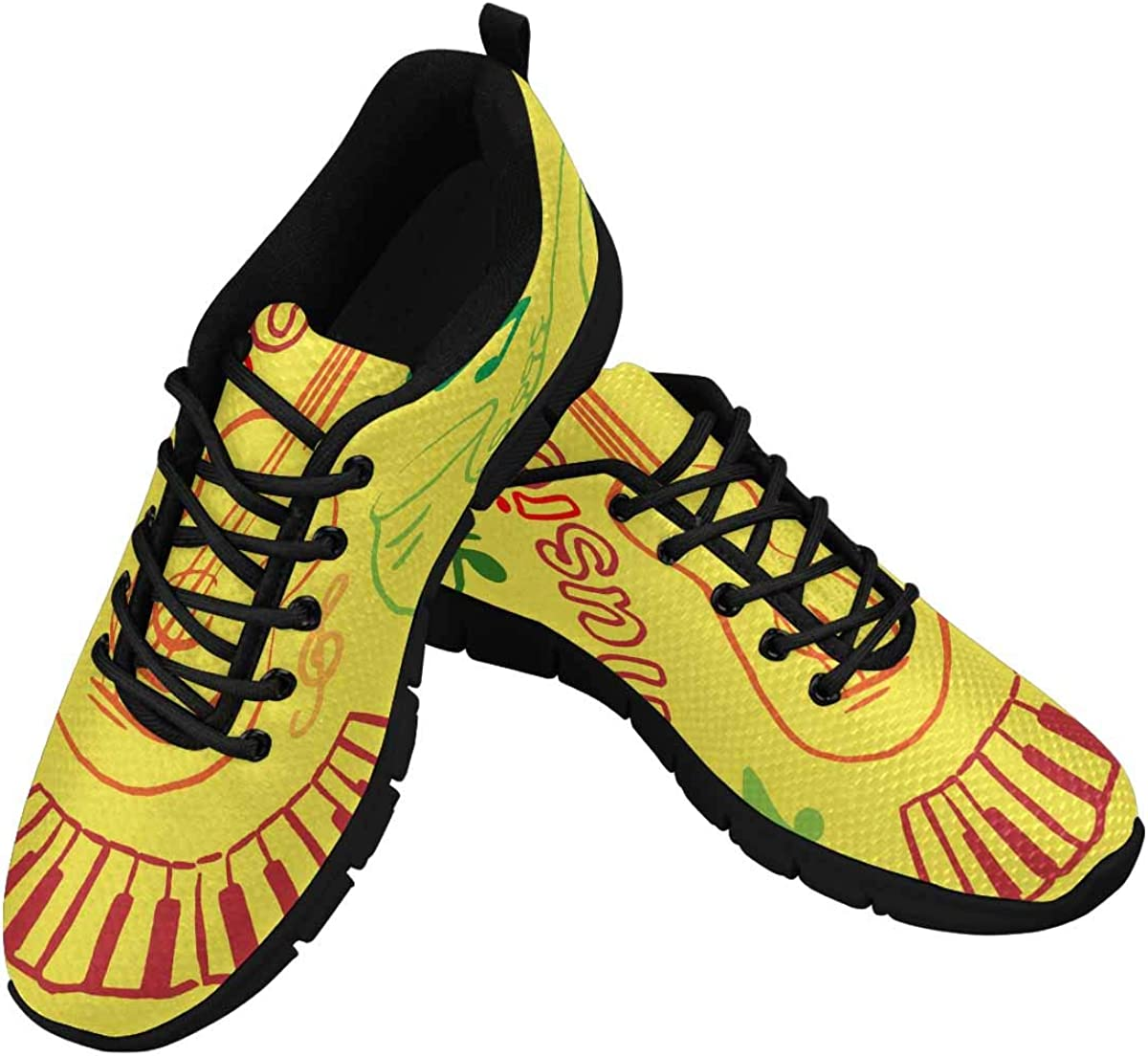 INTERESTPRINT Music with Yellow Background Women's Running Shoes Mesh Breathable Sports Casual Shoes