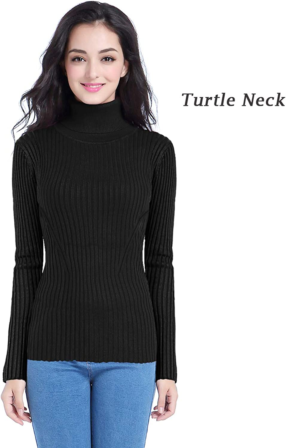 V28 Women Stretchable Turtleneck Knit Long Sleeve Slim Fit Bodycon Sweater