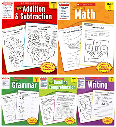 Scholastic Success with Grade 1 Complete 5 Book Set. Includes Math, Addition and Subtraction, Grammar, Reading Comprehension, Writing