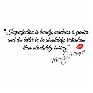 MLM Impersonation Is Beauty By Marilyn Monroe With a Monroe Red lip Motivational Quotes Removable Vinyl Wall Sticker Home Decor Art