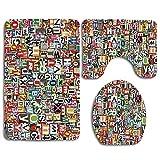 Collage hecho de recortes de periódicos Alfabetos esquejes Imagen de carta de diversidad 3 piezas Juego de alfombras de baño Alfombra de baño antideslizante + Alfombrilla de baño en forma de U + Funda
