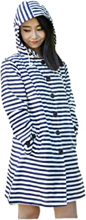 SUPHEN レインコートアウトドアツーリズムウインドブレーカーレインコート大人用ポンチョ薄くて軽い ベージュストライプレインコート (Color : Blue stripes)