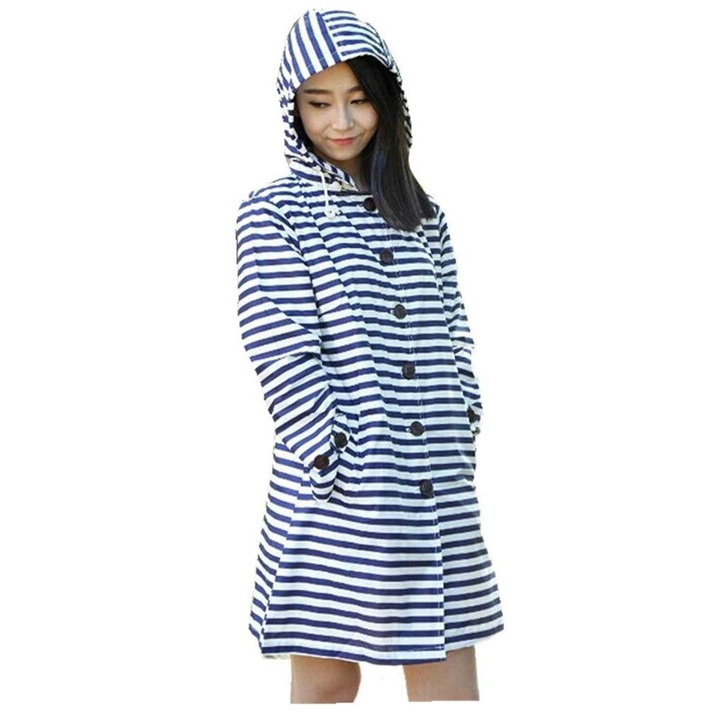 SOPHY レインコートアウトドアツーリズムウインドブレーカーレインコート大人用ポンチョ薄くて軽い ベージュストライプレインコート (Color : Blue stripes)