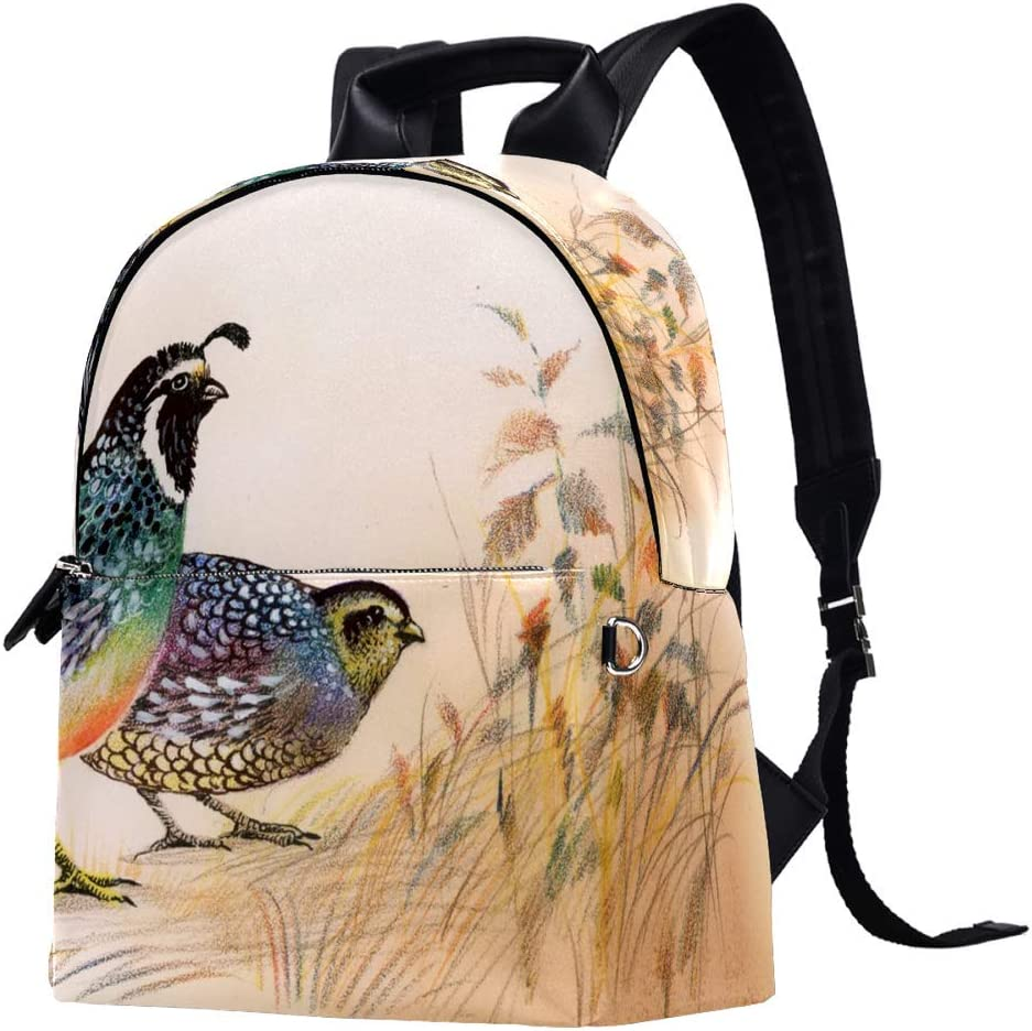 Watercolor Common Quails Backpack Daypack College Rapid rise Casual 67% OFF of fixed price School