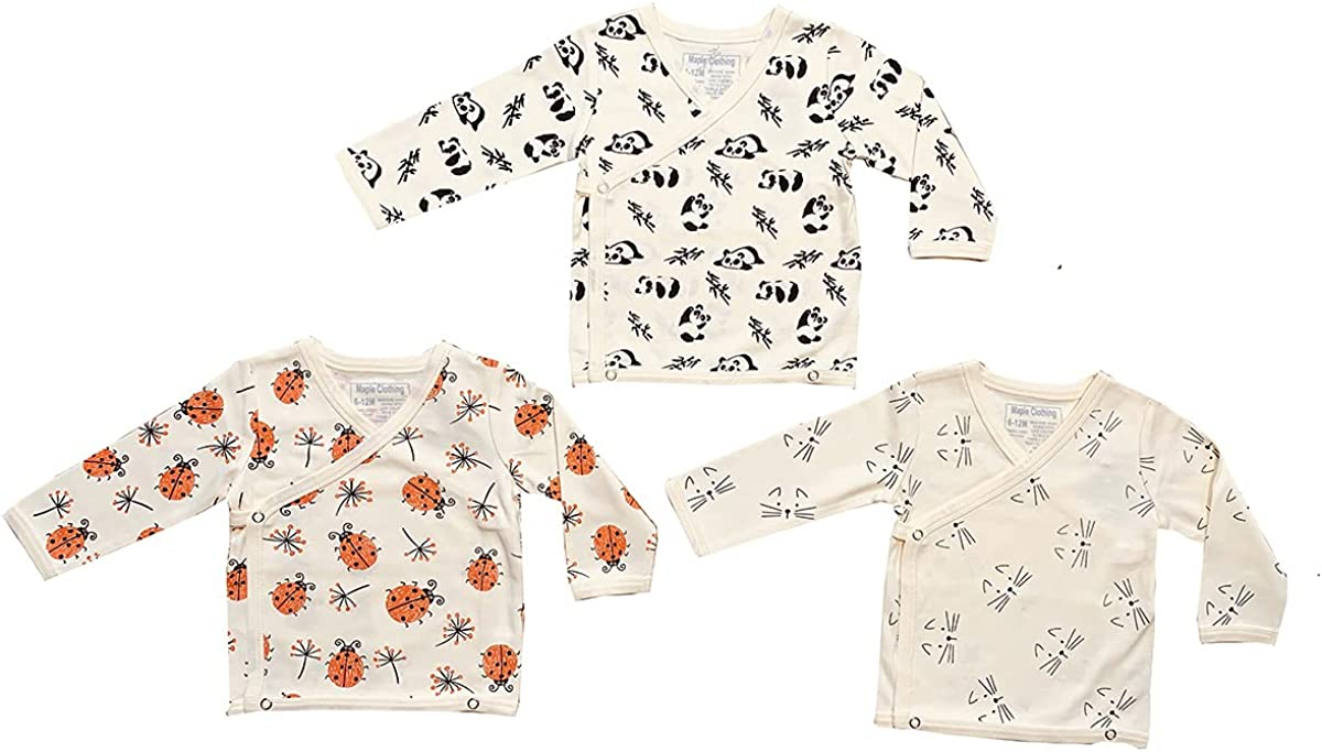 Maple Clothing Organic Cotton Baby Kimono Long Sleeve Bodysuit GOTS Certified
