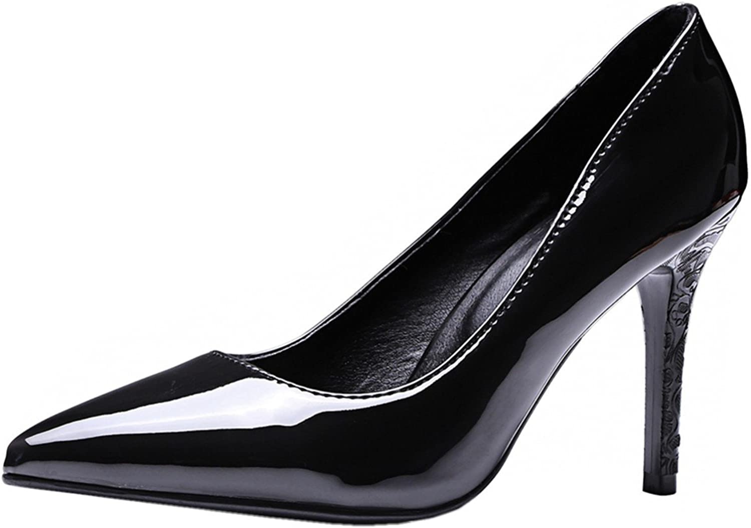 Rongzhi Womens High Heels Stiletto Slip on Pointed Toe Party Dress Classic Pumps shoes Patent Leather