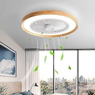 Ventilateur De Plafond LED Avec Éclairage Ventilateur En Bois Plafonnier Avec Télécommande Silencieux Ventilateur Invisibl...
