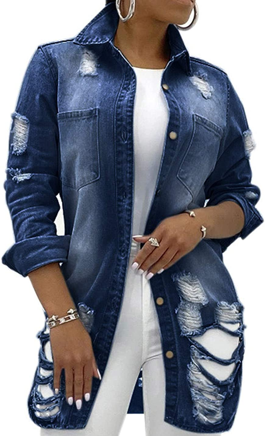 PAODIKUAI Women's Jean Jacket Ripped Distressed Casual Long Sleeve Denim Jacket