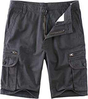 Cargo Shorts Zipper Pocket for Men Cotton Casual Relaxed Fit Multi-Pocket Big and Tall