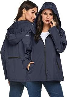 Raincoat Women Waterproof Lightweight Reflective Packable Rain Jacket for Travel Hiking