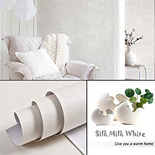PVC Silk Pattern Ivory Vinyl Contact Paper Decorative Self Adhesive Wallpaper Stick and Peel for Bedroom Living Room Wall Decor Wallcoverings 60cm x 10m
