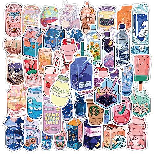 PMSMT 50 unids Verano Lindo Sabor Bebidas Pegatinas PVC Kawaii Dibujos Animados Bebida calcomanía Pegatina para niña DIY papelería portátil Botella de Agua