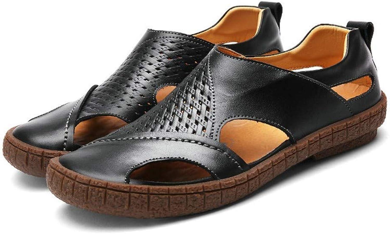Summer Beach shoes Men Sandals Split Leather Slippers for Men Slip On Casual shoes Men