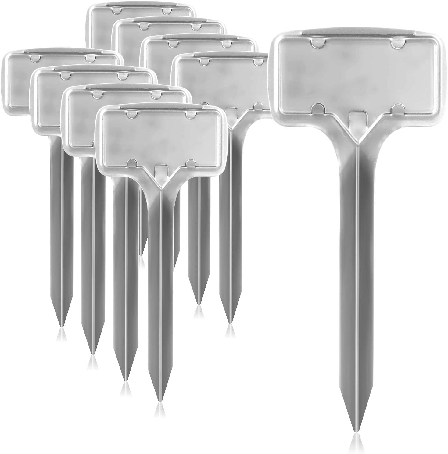 COM-FOUR/® 9x Cartellini per piante 17,5 cm Tappi per spezie in metallo Cartellini alle erbe per letichettatura argento