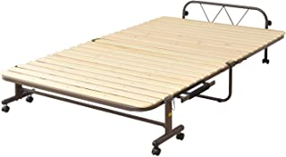 山善 折りたたみベッド すのこ セミダブル ワイド 耐荷重 90kg 布団干し機能 通気性 コンパクト収納 固定ストッパー付き 組立品 ナチュラル/ダークブラウン SBB-7SD(NA)