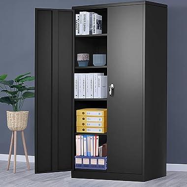 "Locking Metal Cabinet with 2 Doors, Tall Steel Storage Cabinet with 4 Adjustable Shelves,72"" Lockable Metal Welded Storage Ca"