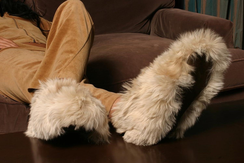 Alpaca Slippers Small Light Brown