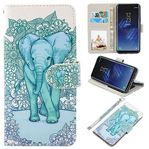 UrSpeedtekLive Galaxy S8 Plus Wallet Case Folio Flip Premium PU Leather Case Cover w/Card Holder Slot Pockets, Wrist Strap, Magnetic Closure Compatible with Galaxy S8 Plus (2017), Elephant