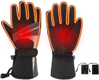 whelsara Guantes calefactables recargables con batería para hombres/mujeres, guantes térmicos impermeables con calefacción eléctrica para invierno más cálido acampar al aire libre senderismo comfy