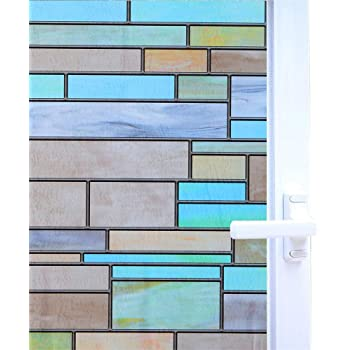 Kids Room Waterproof Bathroom Stained Glass Effect Window Film No Adhesive Static Cling for Glass Window Decor Privacy Window Covering Easy Removal Bricks, 17.7x78.7 Inches Sliding Door