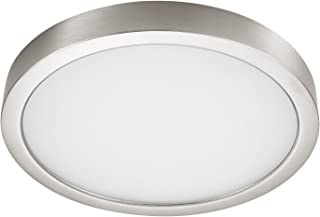 GetInLight Round 8-inch Dimmable Flush Mount Ceiling Fixture, (2nd Generation), 14 Watt, Brushed Nickel Finish, 3000K Soft White, 80W Replacement, Damp Location Rated, ETL Listed, IN-0306-2-SN