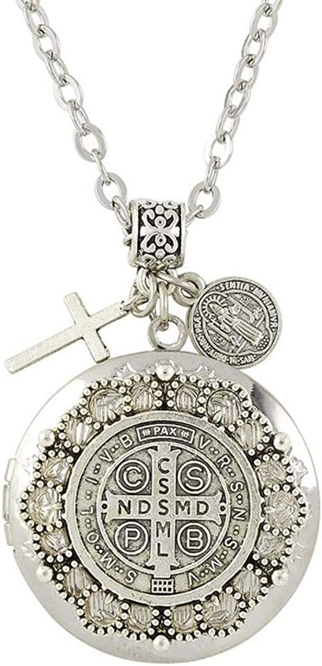 Saint Benedict Necklace with New product! New type Silver-Tone Devot Protect Medal Us Max 72% OFF