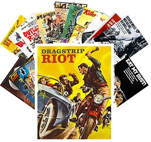 24 Postkarten Bikers and Racing Car Crash Vintage Trash Movie Posters Ads