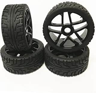 EYESKY RC 1/8 Scale On-Road Vehicles Wheel Rim Rubber Tires Black 17mm Hexagonal Joint H Thread Pattern for On-Road Touring Car 4 PCS